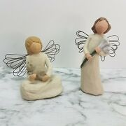 Vintage Lot Of 2 1999 Willow Tree Figurines Angel Of Kindness Angel Of Beauty