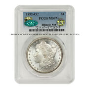 Finest Known 1892-cc 1 Silver Morgan Pcgs Ms67+ Cac Pq Approved Illinois Set