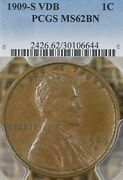 1909 S Vdb 1c Pcgs Ms62 Bn Lincoln Wheat Cent Penny, Key Date, Original Surfaces