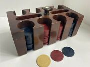 Vintage Lot Of 160 Clay Anchor Poker Chips And Caddy Red White And Blue Free Ship