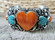Navajo Sterling Heart Spiny Oyster Andturquoise Cuff Bracelet Signedtsosie White