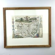 Antique Suffolk England Map C. 1845 Thomas Moule Wood Framed W/ Letter