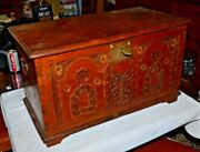 Antique German/swiss Hand Carved Dovetail Wood Chest With Key 25x15x14