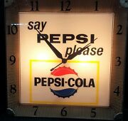 Vintage Square Say Pepsi Please Electric Wall Clock
