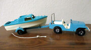 Vintage Hubley Toy Jeep And Boat From The Late 60's Or Early 70's