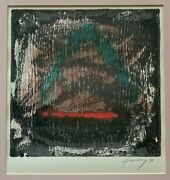 Vintage 90s Abstract Serigraph Print Wall Hanging Modern Art Signed Hennessy - 3