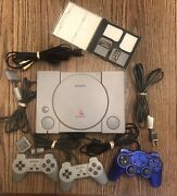 Sony Playstation 1 Original Console With 3 Remotes And 2 Memory Cards-euc