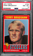 1971 Topps Terry Bradshaw Rookie Card 156 Psa 8 Very High End Dead Centered