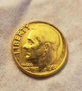 1967 Gold Plated Roosevelt Dime Ungraded