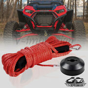 Red 50and039 1/4 Synthetic Winch Rope Stopper Recovery Towing Straps 7000lbs Atv Utv