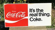 """Vtg Nos 1970's Coca-cola It's The Real Thing Coke Ad Sign 30""""x 15"""" Tin Soda Pop"""