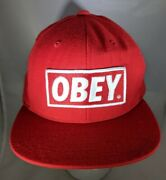 Obey Logo Hat Baseball Snapback Propaganda Embroidered Red Embroidered Rare
