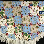 Vintage Quilt Christmas Tree Skirt Farmhouse Cabin Lodge Ruffle Lace X Large 61