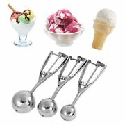Ice Cream Scoop 3 Size Stainless Steel Cookie Watermelon Ball Spoon Home Tool