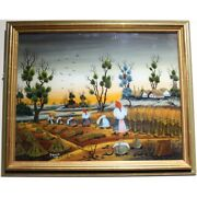 Vintage Farm Oil Painting Land Scape Under Glass Moissons Signed And Dated 1978