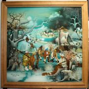 Vintage 20th Original Oil Painting Still Life Under Glass Ice Skates Signed And
