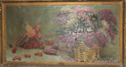 Antique Oil Painting Still Life Strawberries Cherries Parrot And Flowers Signed