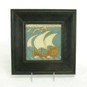 Grueby Pottery Tile Co 6x6 Galleon Ship Tile Matte Brown Blue Sky Arts And Crafts