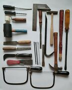 Lot Of 22 Vintage Hand Tools Wood Coping Saws Hammer Screwdriver Chisel Scrapers