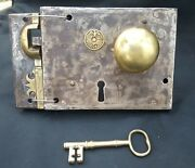 Restored Left Handed Carpenter Lock 60 With Door Knobs Keeper And Key