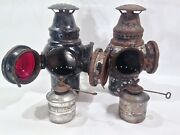 Vintage Adlake Automotive Lamp Lanterns 1907 Patent Date Railroad 8 Inches Tall