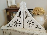 Pair Of 1800's White Antique Architectural Victorian Wood Corbels Brackets