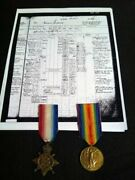 British Ww1 Ww2 Royal Navy Rn 1914-15 Star Victory Medal Named Po And Records