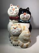 Vintage Bico-china Three 3 Little Kittens Cats 9.5 Cookie Jar Porcelain