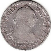 Mexico / 2 Reales 1772 F.m. Carolus Iii, Mintmark Mo, Inverted Fm And Mint Mark