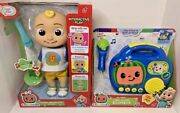 New 2021 Cocomelon Interactive Jj Doll And Boombox- New And In Hand Toy Bundle