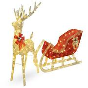Lighted Christmas Reindeer And Sleigh Outdoor Holiday Decor Set With Led Lights