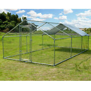 Chicken Dog Coop Large Metal Walk-in Poultry Cage Kennel With Waterproof Run