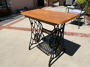 Oak Table With Singer Sewing Treadle Base