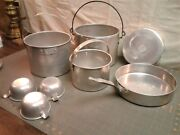 Vintage Aluminum Nesting Camp Cooking Pot Set With Handles Plates And Cups 1930s