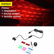 Car Interior Atmosphere Lamp Usb Led Projector Meteor Lights Sound Control Red