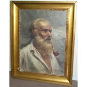Antique 19th Italian Original Oil Painting On Canvasportrait Man With A Pipe