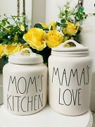 2x Rae Dunn Moms Kitchen Mamas Love Canister Jars Set With Lids Ll Farmhouse Htf