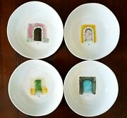 Retired Rae Dunn French Sketch Boutique Watercolor Door Pasta Bowls No. 1 2 3 4