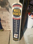 C.1930s Original Chew Mail Pouch Tobacco Sign Thermometer Treat Yourslef Gas Oil
