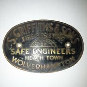 S. Griffiths And Sons Brass Safe Plaque Sign Original Gold Prize Medal 1891