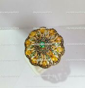 Green Amethyst Gemstone Citrine And Emerald Ring With Diamond 925 Sterling Silver