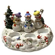 Nib Partylite Snowbell Tealight And Pillar Candle Holder Snowman Family Christmas