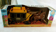Vintage Wild West Wells Fargo Stagecoach Playset In Box With Cowboys And Indians