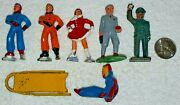 7 Pieces Barlclay Lead Toy Figures Ice Skaters Sled Policeman Train Passenger