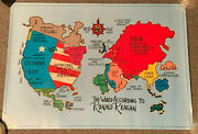 The World According To Ronald Reagan Poster British Peace Assembly Map Vtg Usa