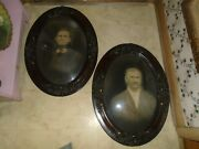 2 Antique Oval Wood Frame Convex Bubble Glass Vintage Pictures Man And Woman