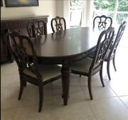 Thomasville Dining Room Set And Granite Top Buffet With 8 Padded Chairs