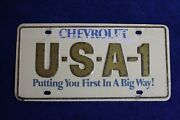 Vintage Steel Chevy Usa-1 Small Hole Dealer Front License Plate Topper Accessory
