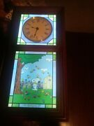 Rare Danbury Mint Stained Glass Peanuts Snoopy Seasons Wall Clock Lighted