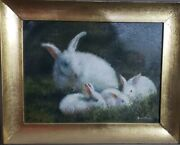 Very Antique Rabbits Landscape -oil Canvas Painting / Signed - Rare Artist